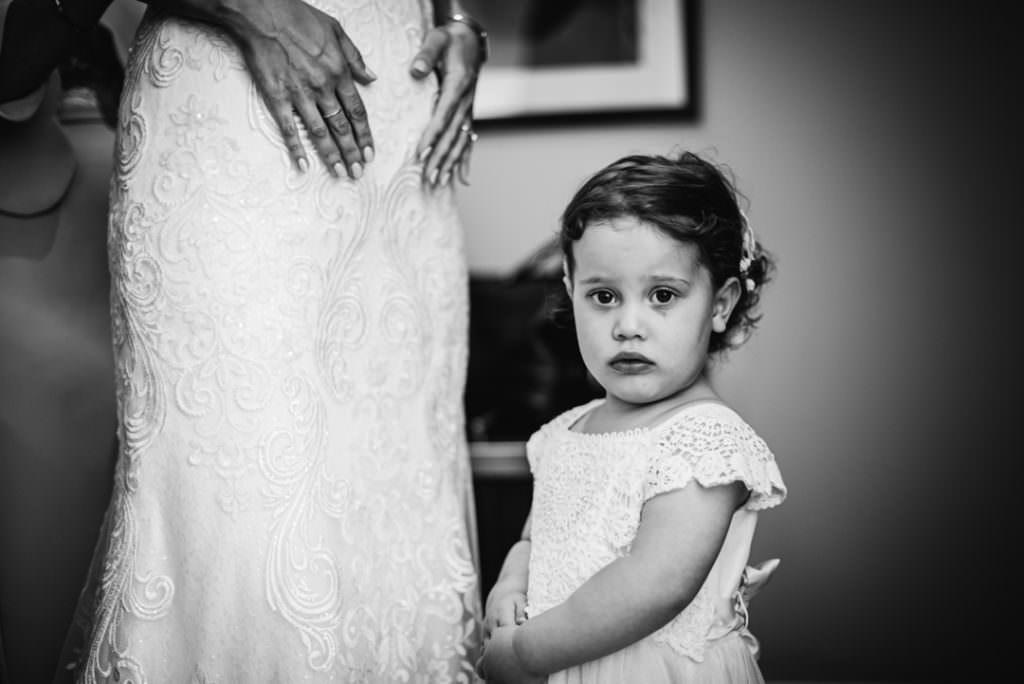 little bridesmaid looks nervous at hertfordshire wedding