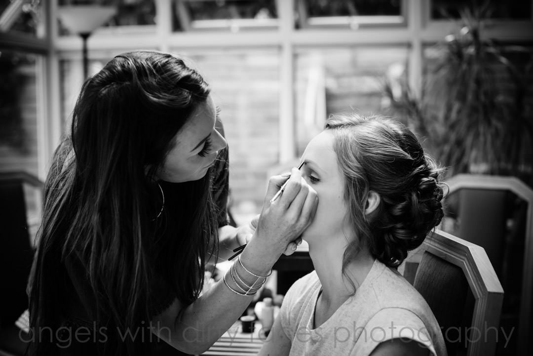 make up before the big day at tewin bury farm hertfordshire