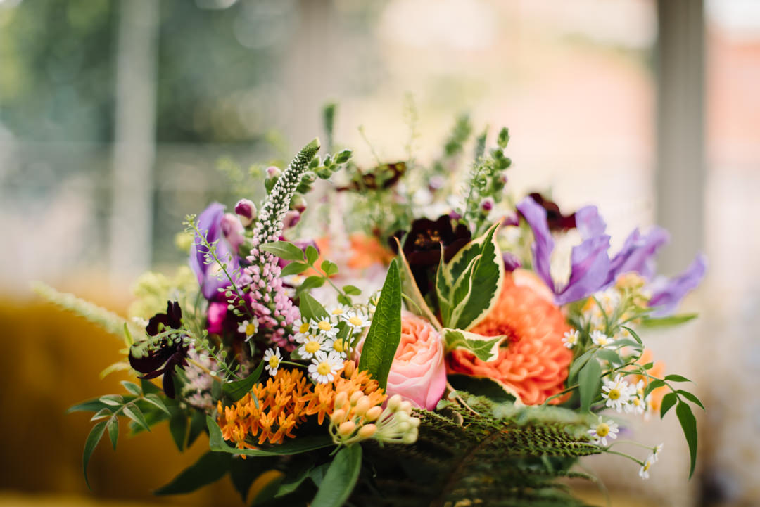 photo of a brightly coloured wedding bouquet