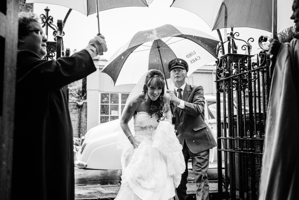 a rainy wedding day in Hertfordshire documented