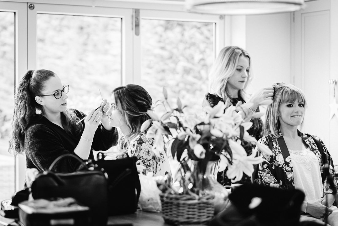 bridal preparations at home before heading off to micklefiled hall