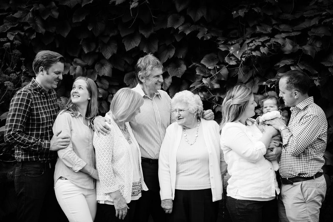Four generations come together for relaxed family photography St Albans.