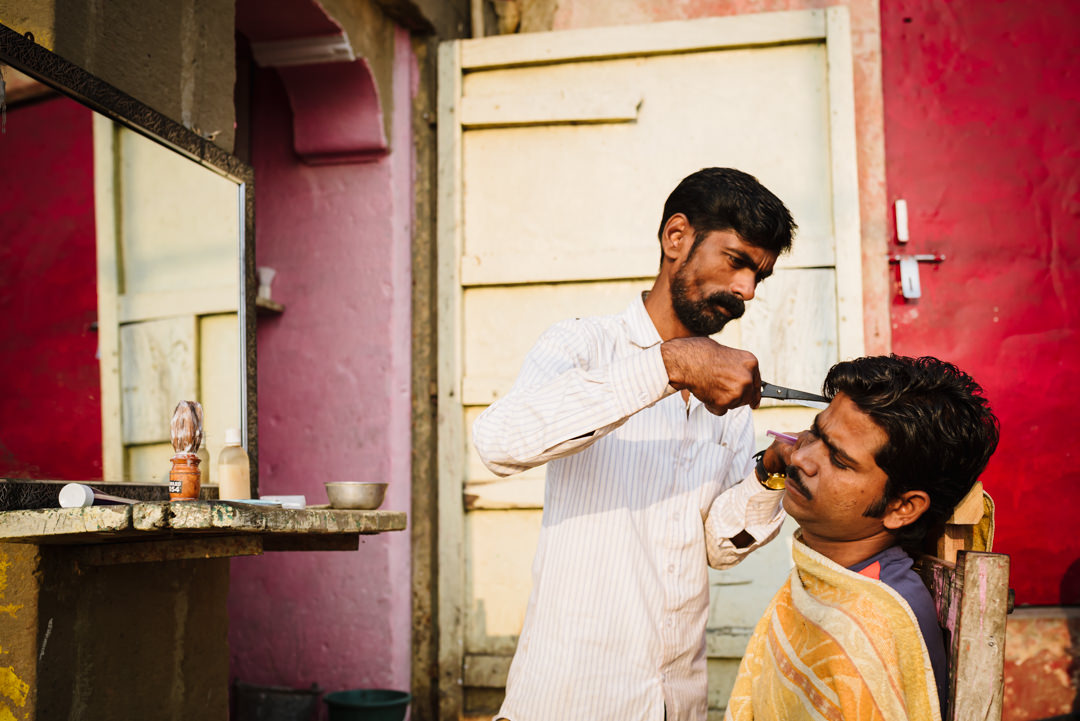 outdoors barbers in varanasi india