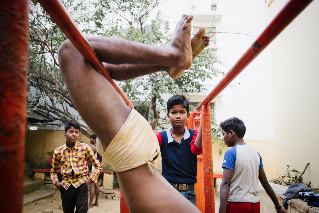 indian kids play at the gym in varanasi india