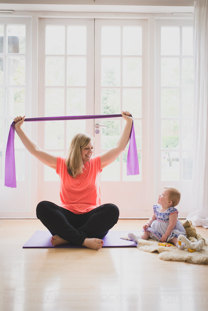 Hertfordshire commercial photography with pregnant mum doing pilates