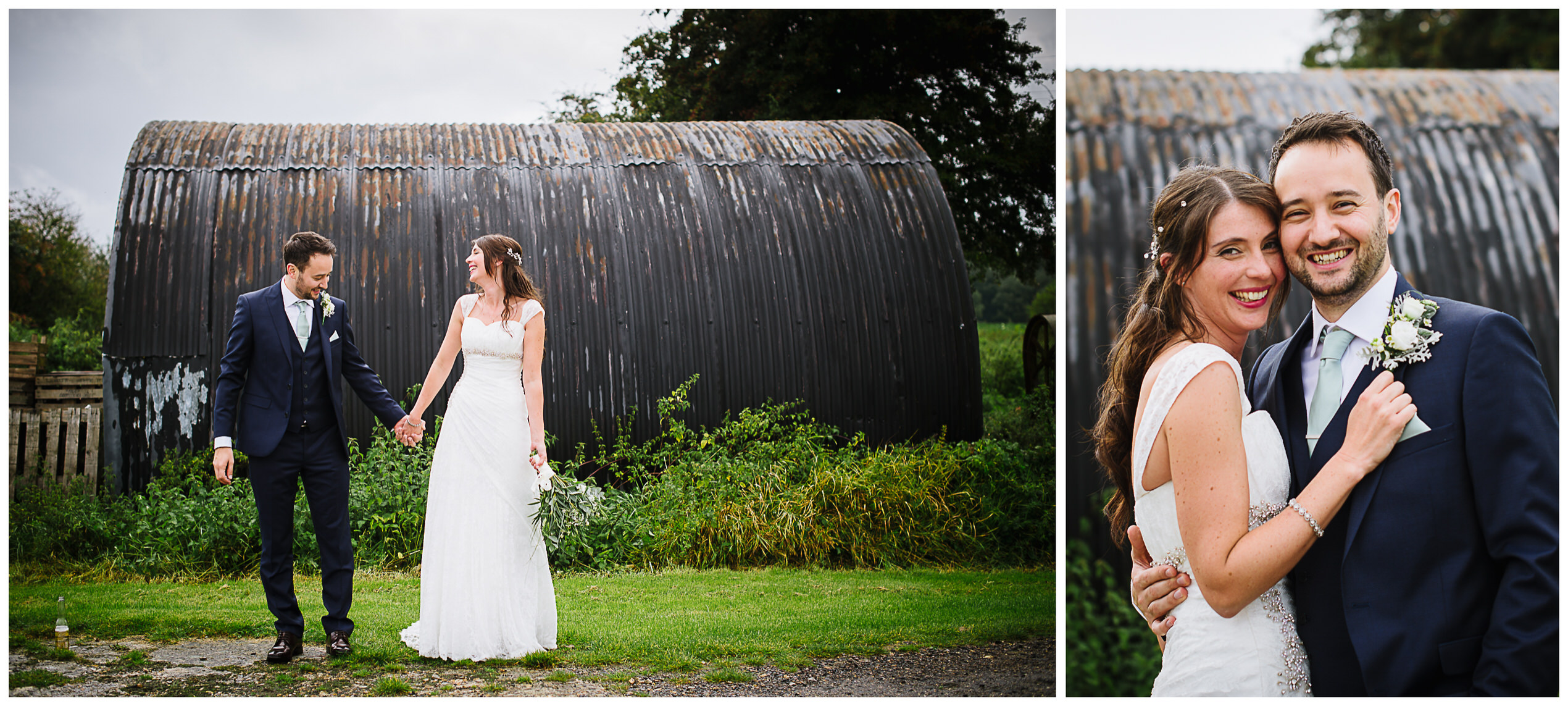 Milling Barn wedding couple pose in front of the old pig sheds
