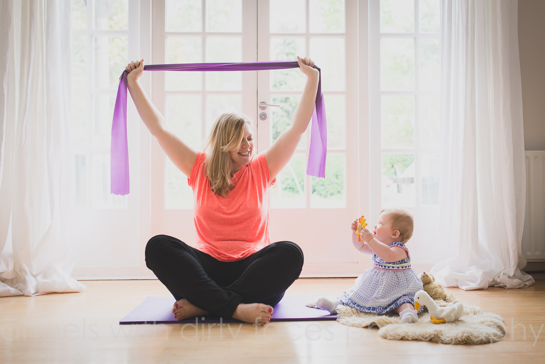 Hertfordshire commercial photographer mother and baby pilates shoot