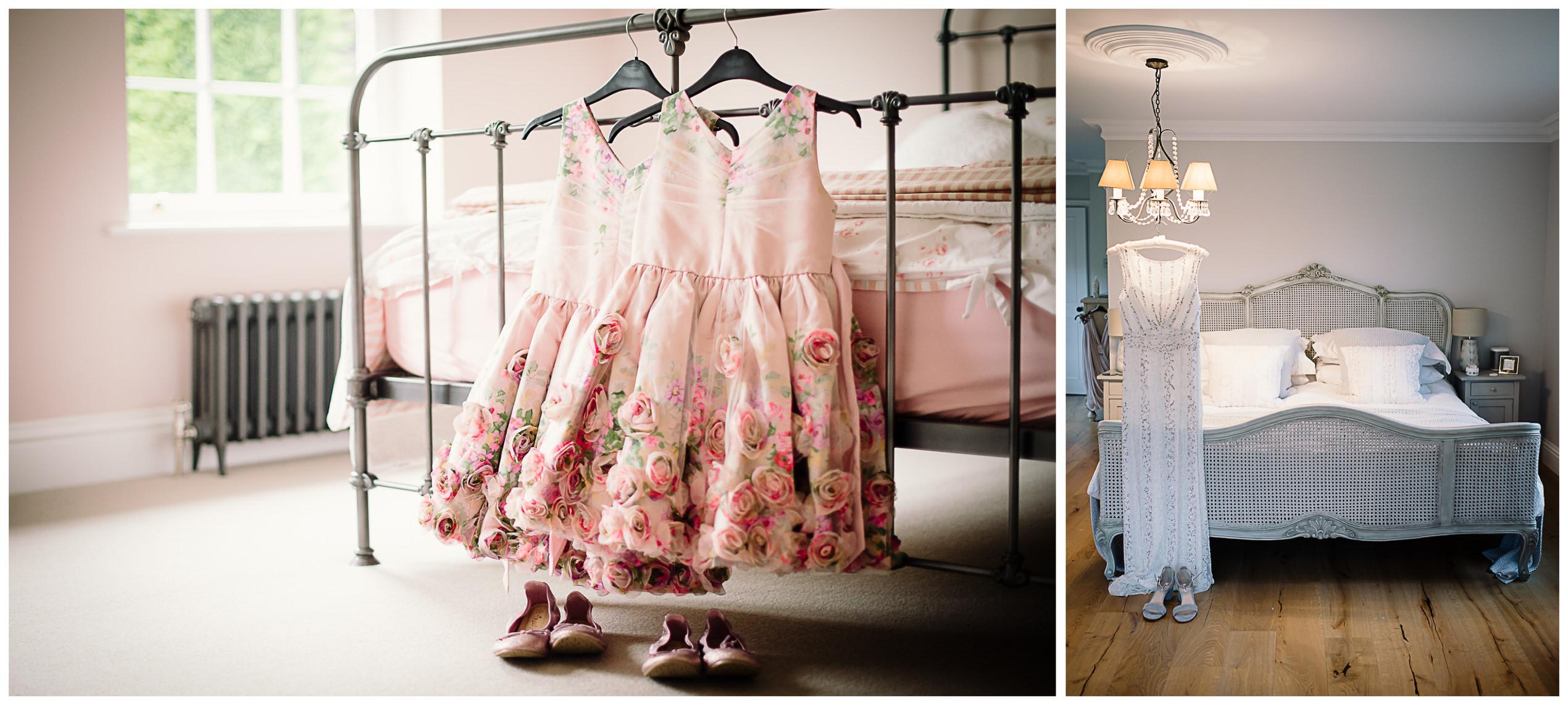 bridesmaids dresses hang up waiting to be worn at tewin bury farm hotel wedding