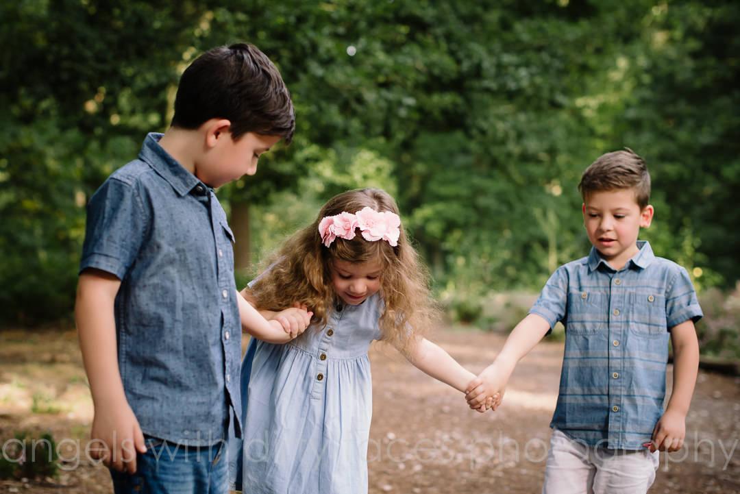 Welwyn Garden City Family Photoshoot for DIY SOS in hertfordshire woods
