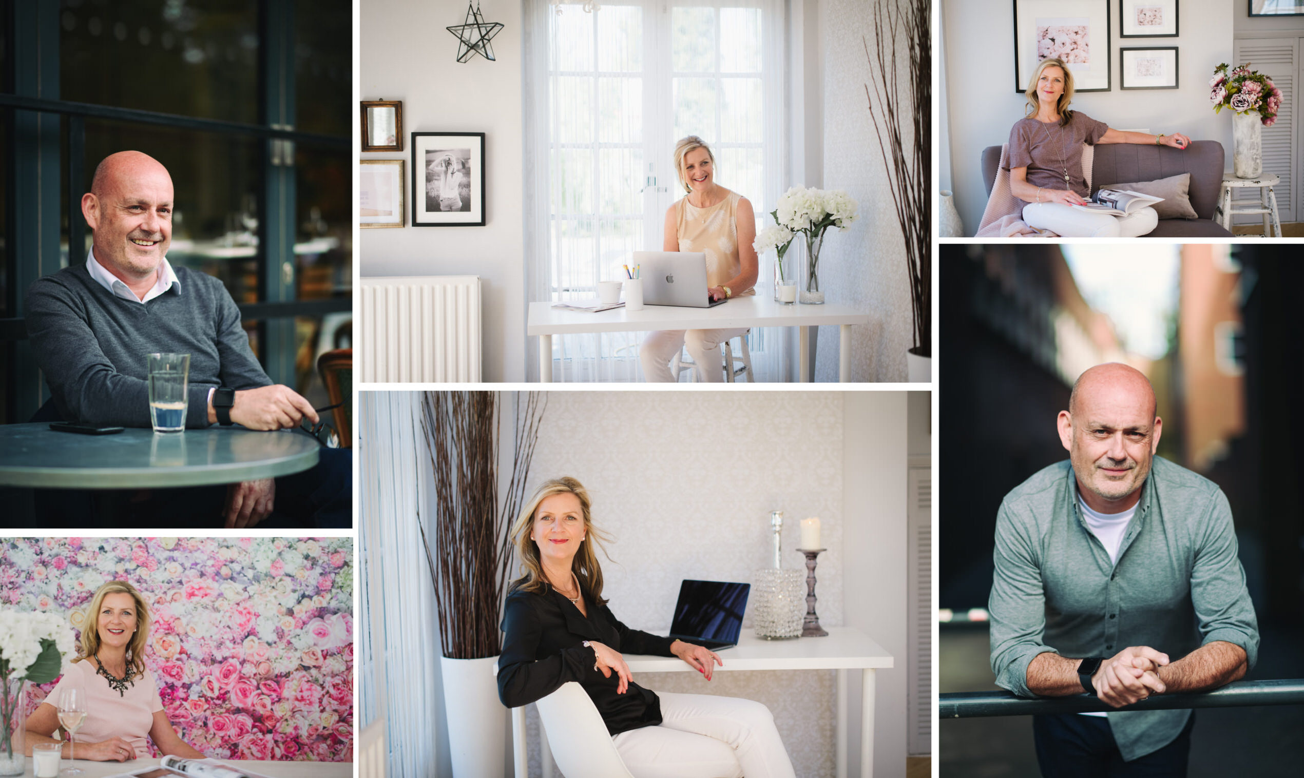 a selection of business head shots with both male and female clients taken in my hertfordshire home studio