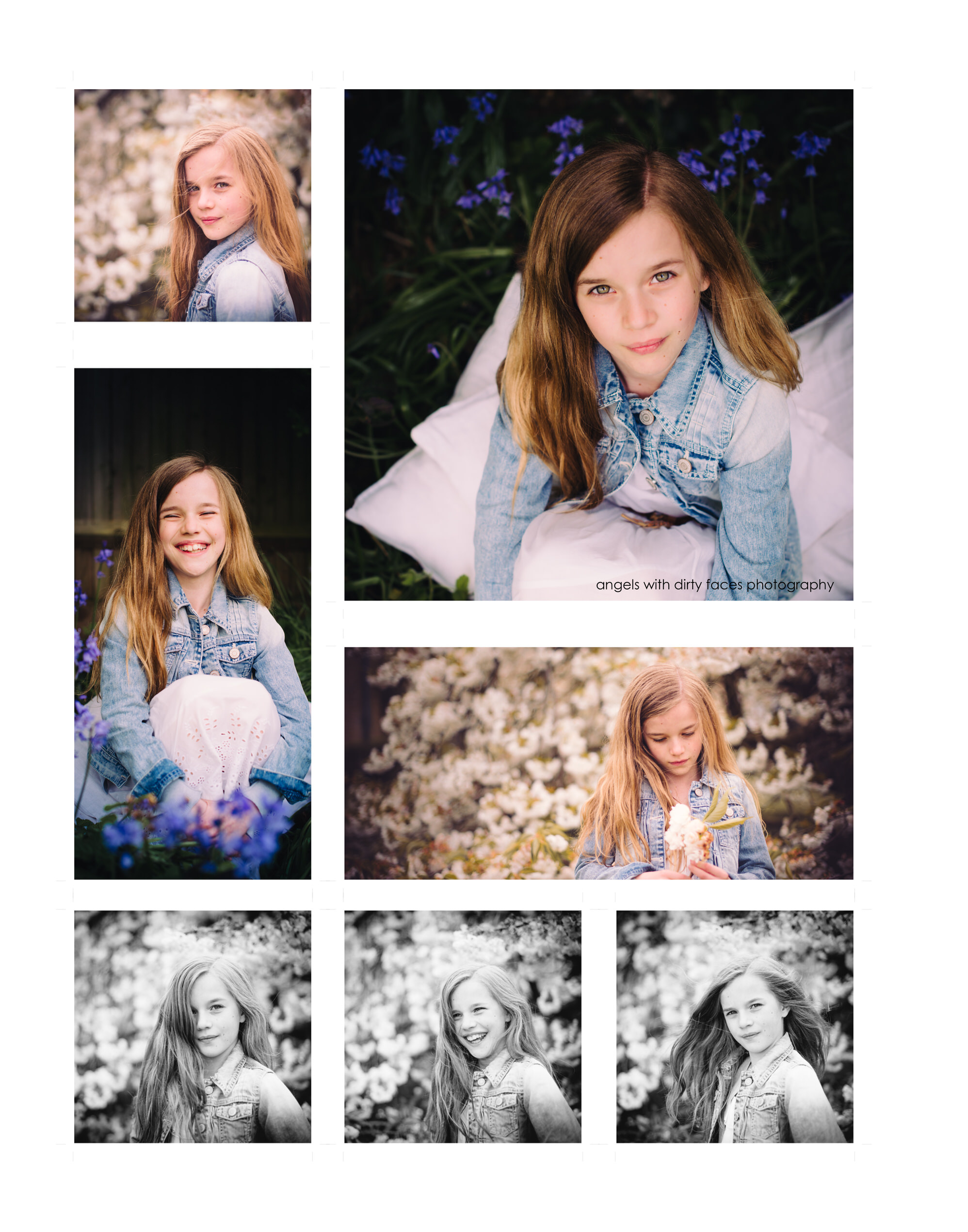 hertfordshire child photographer bluebells and blossom collage