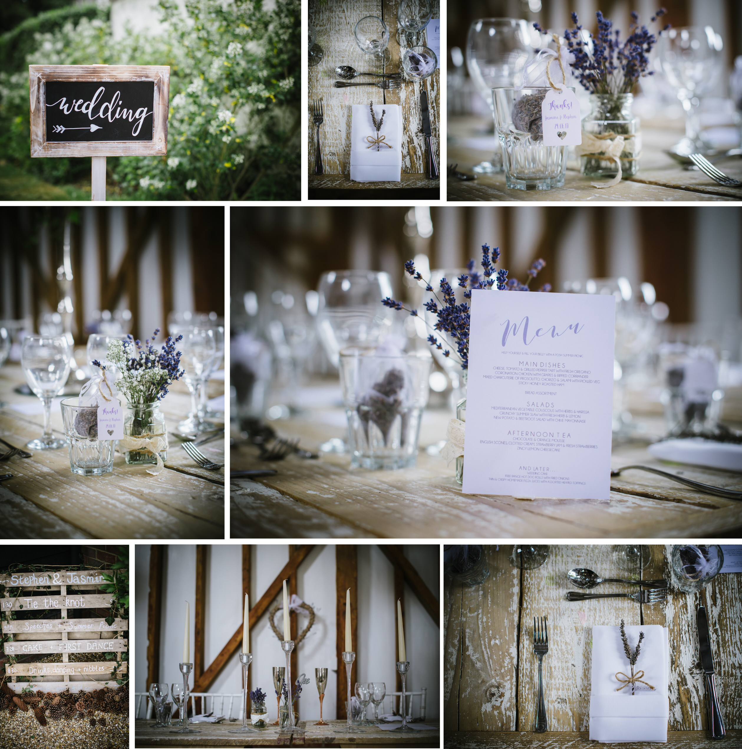 collage of images taken at a recent milling barn wedding